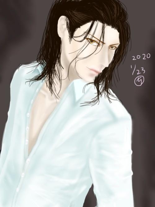 長髪男の絵